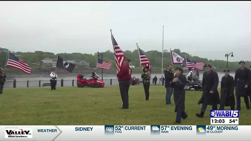 Members of the Bangor High School junior ROTC led a Memorial Day ceremony along the waterfront...