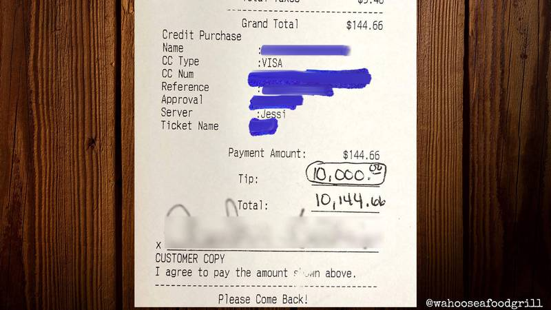 A customer left a generous tip to be shared among staff members.