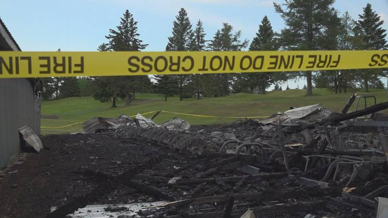 Mars HIll Country club is still open after a fire destroyed 45 privately owned carts and two...