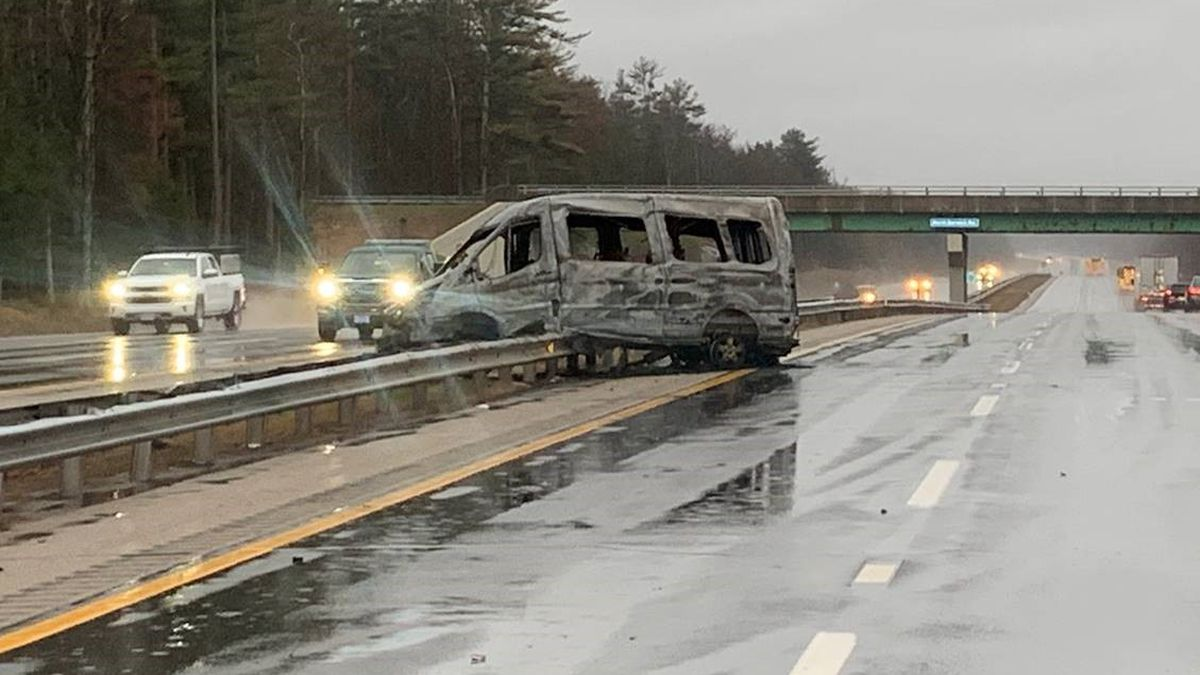 Van catches fire after crashing on Maine Turnpike on Friday