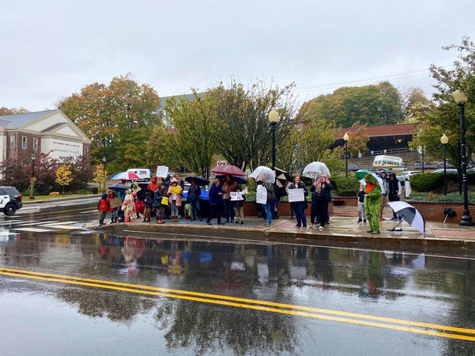Dozens gather to protest Maine's mask mandate.