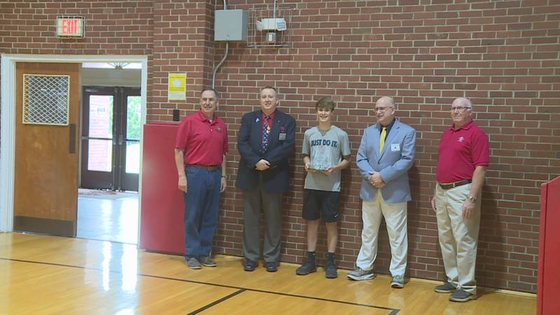Gabe Theriault earns an International award from the Knights of Columbus for making 25 of 25...
