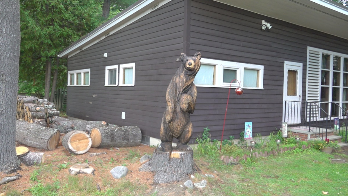 Benny the Curious Bear, a chainsaw sculpture created by Old Town's Shawn Bennett