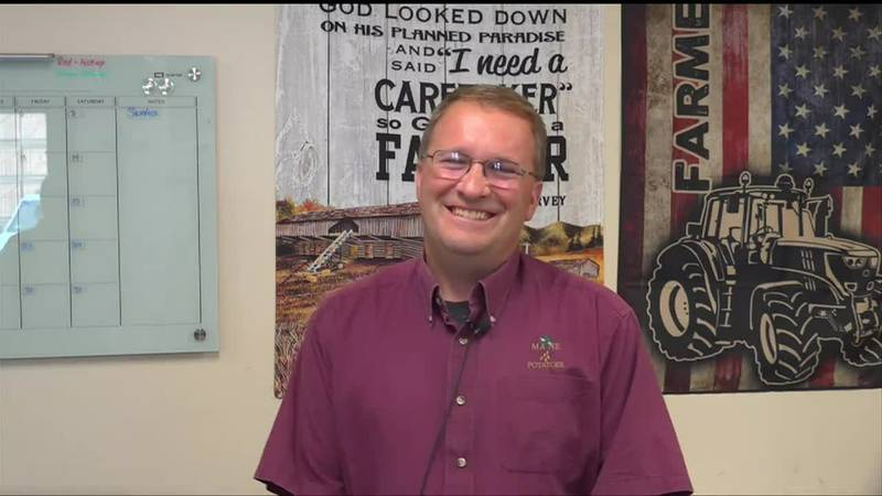 Dominic LaJoie in the office of LaJoie Growers LLC