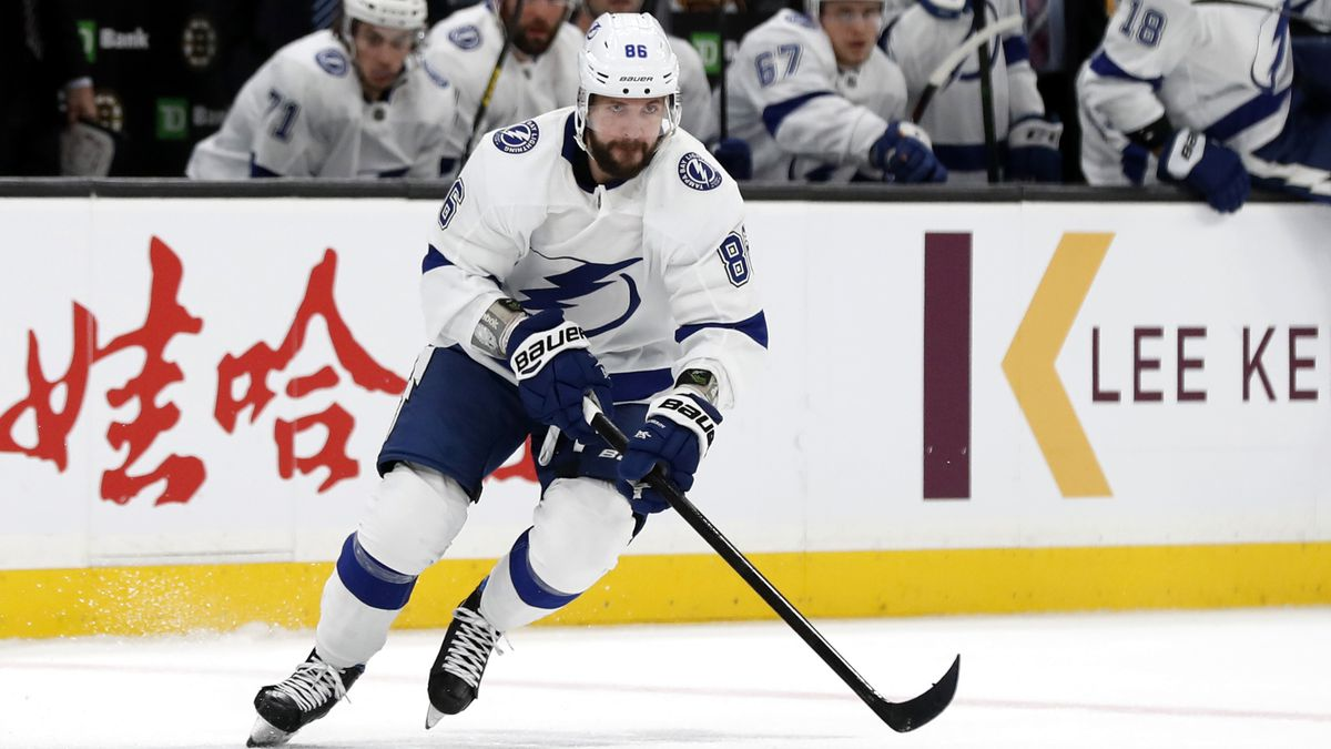 Tampa Bay Lightning's Nikita Kucherov during the first period of an NHL hockey game against the Boston Bruins Saturday, March 7, 2020, in Boston.