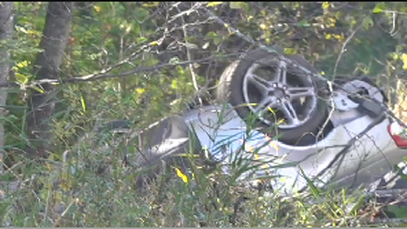 Five people are in the hospital after a single vehicle crash in Corinna.