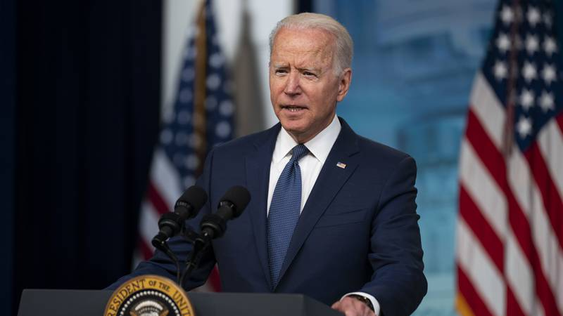 President Joe Biden speaks about the COVID-19 vaccination program during an event in the South...