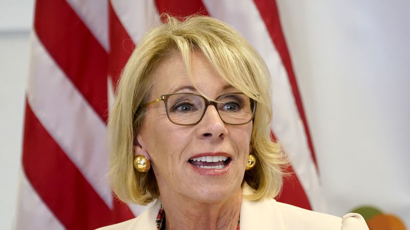 FILE - In this Oct. 15, 2020, file photo Secretary of Education Betsy DeVos speaks at the...