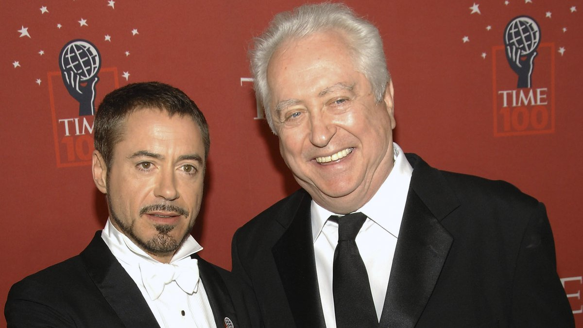 FILE - Actor Robert Downey Jr., left, and his father Robert Downey Sr. arrive at Time's 100...