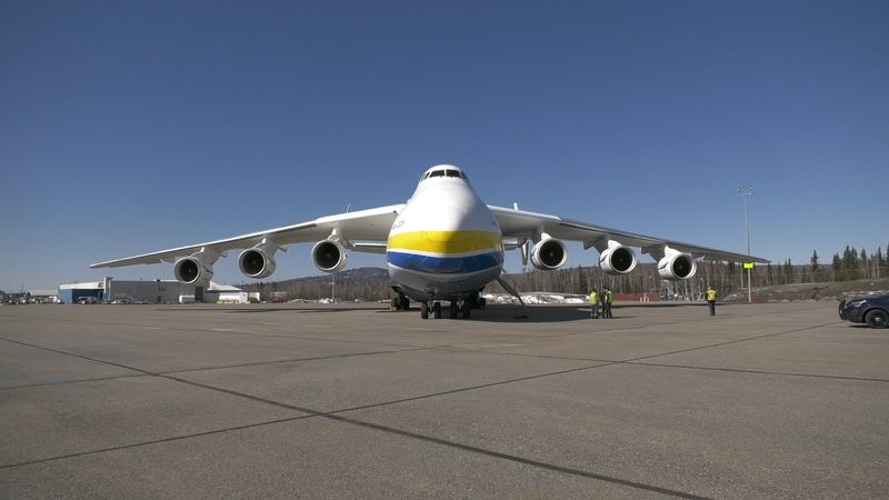 The Antonov AN-225 is seen parked on the tarmac of the Fairbanks International Airport after it...