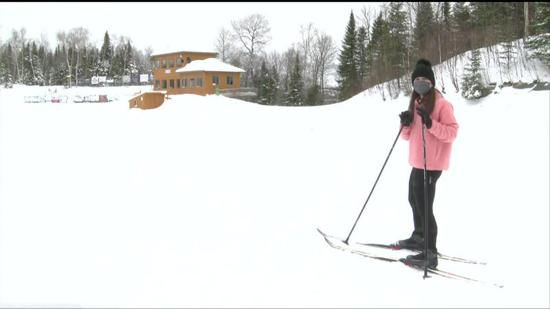 Maria tries cross country skiing.