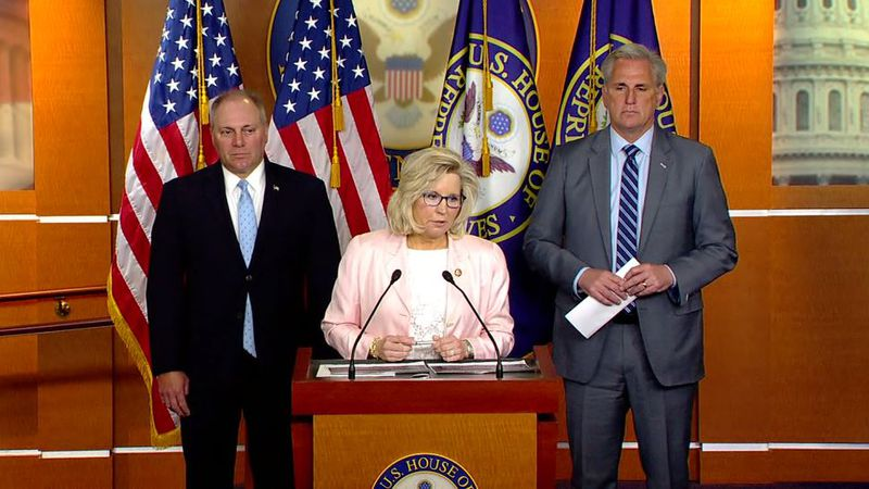Lawmakers were expected to remove Rep. Liz Cheney, R-Wyo., from the party's No. 3 House...
