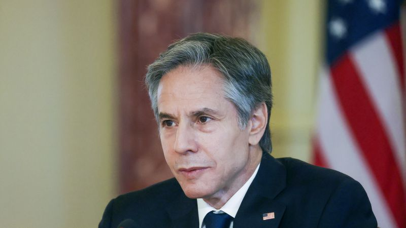 Secretary of State Antony Blinken participates in a virtual bilateral meeting with Kenyan...