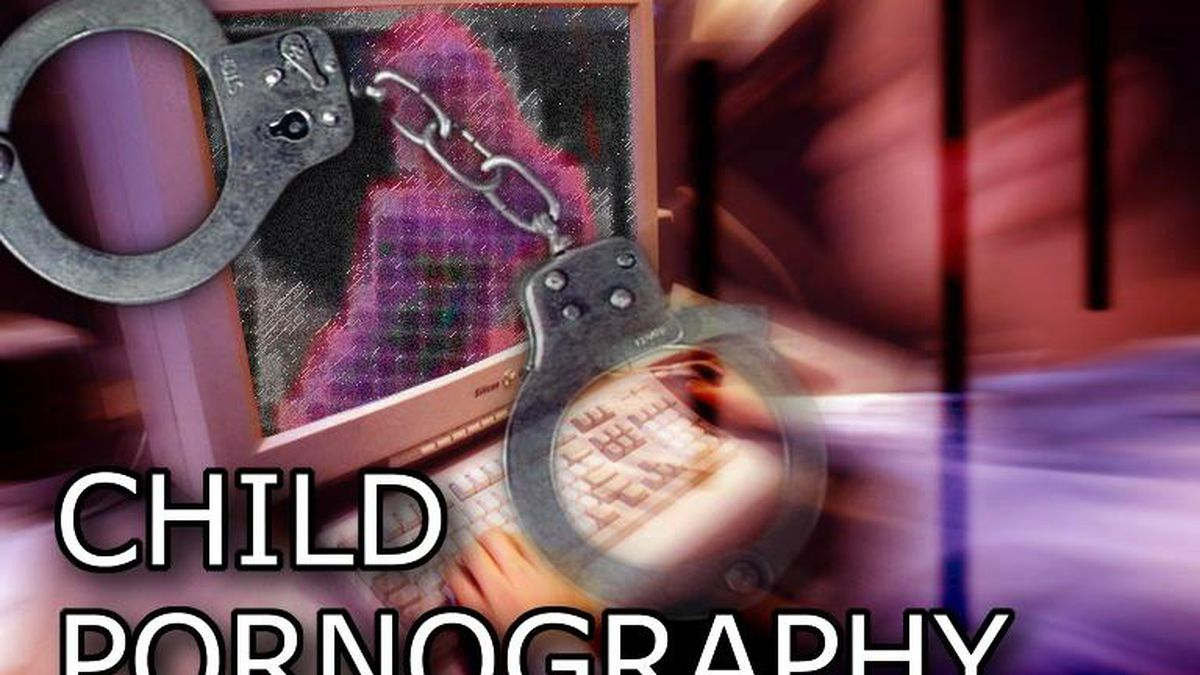 Man at computer with dithered image of person on screen, with handcuffs, and CHILD PORNOGRAPHY...