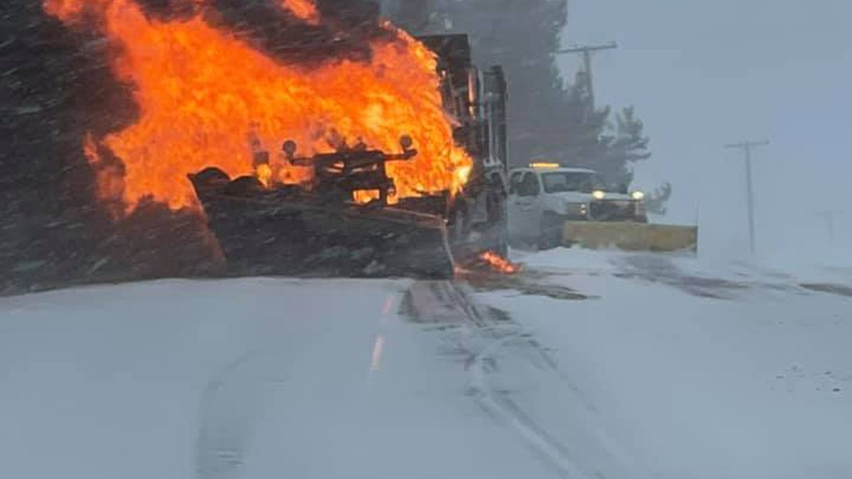 Commercial Vehicle Fire temporarily shuts down road in Fort Fairfield