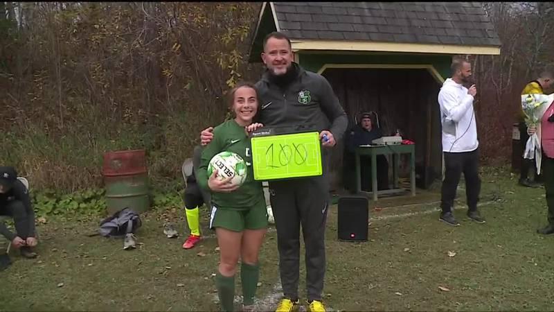 Abbie Lerman joins the 100 goal club