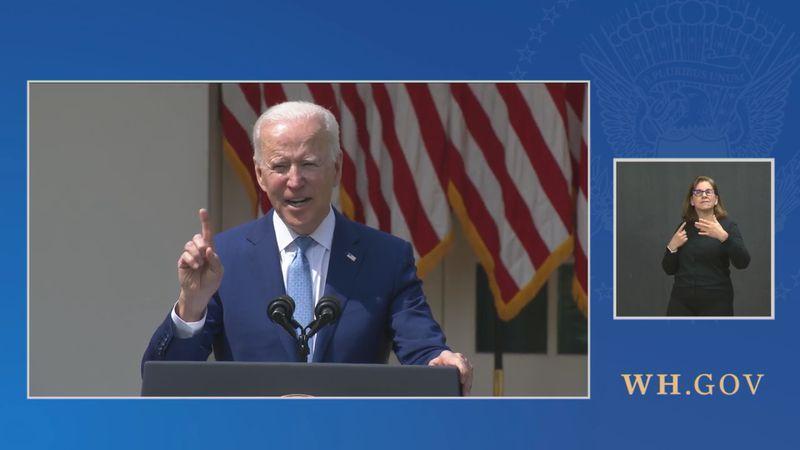 Biden spoke at the White House on April 8