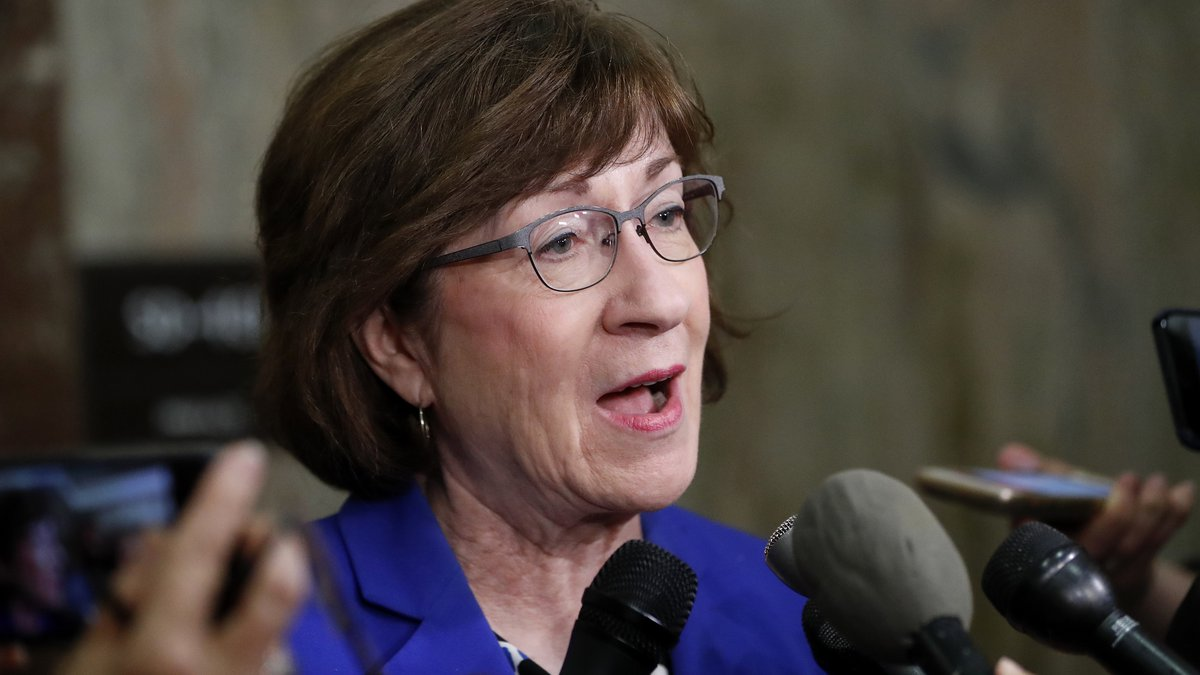 Sen. Susan Collins, R-Maine, speaks to members of the media outside her office on Capitol Hill...