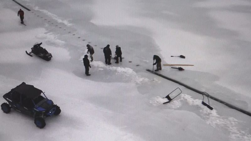 Crews began cutting an ice carousel at Long Lake, hoping to set another world record.