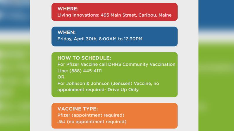Pop-Up Vaccination Clinic in Caribou