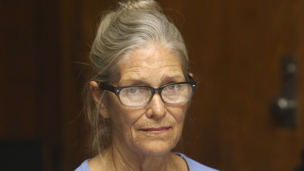 FILE - In this Sept. 6, 2017, file photo, Leslie Van Houten attends her parole hearing at the...